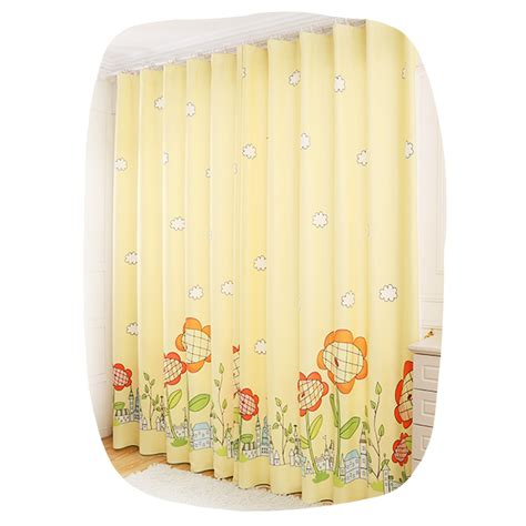 yellow kids curtains yellow print sunflower poly cotton blend kids curtains