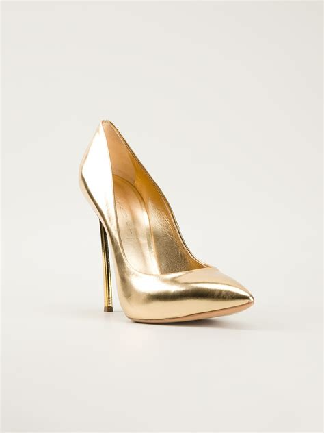 high heels for lyst casadei high heel pumps in metallic