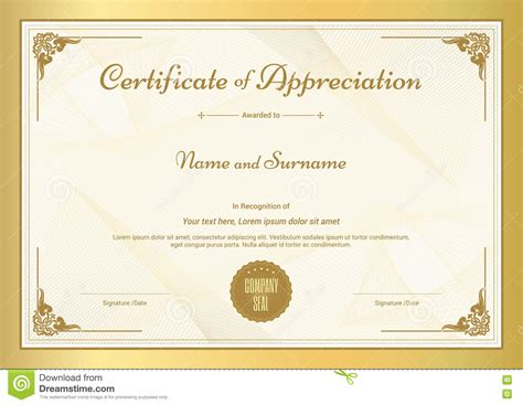 gold certificate template certificate of appreciation template with gold border