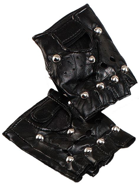 Minogue Rocks The Leather And Fingerless Gloves Look On Stage by Unisex Cool Black Rock Studded Leather Look