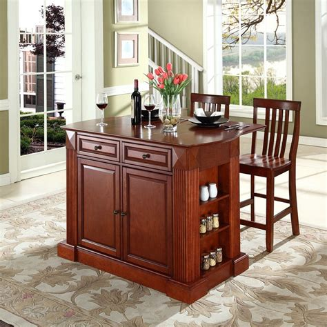 kitchen island tables with stools shop crosley furniture 48 in l x 35 in w x 36 in h brown