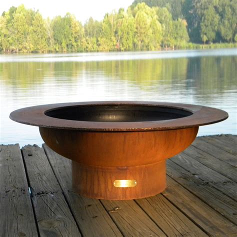Shop Fire Pit Art 40 In W Iron Oxide Patina Steel Wood Wood Firepits