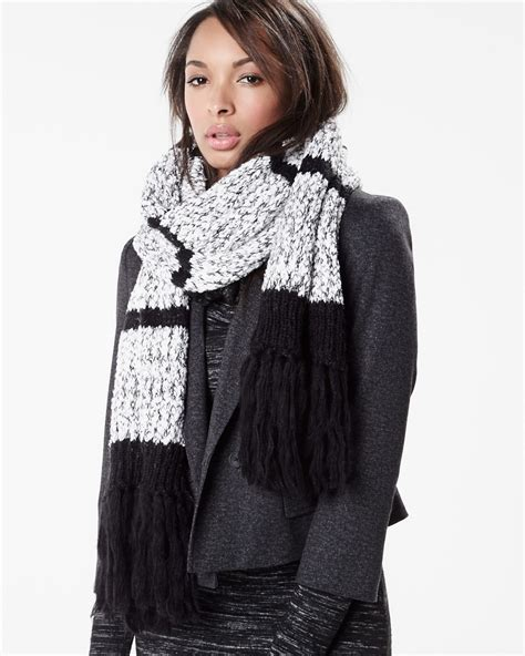 black and white knit black and white knit scarf rw co