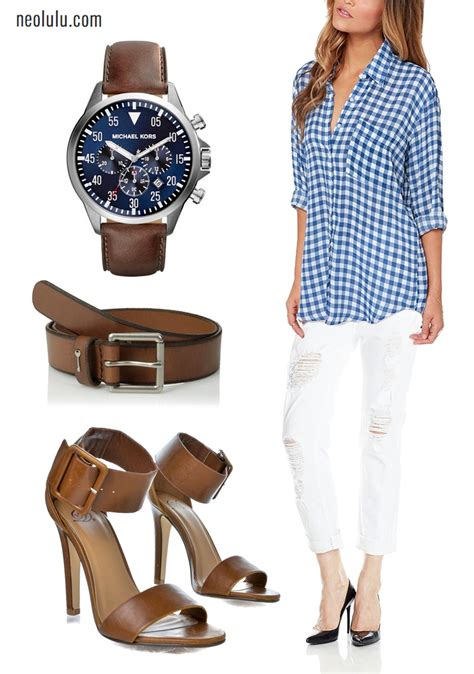 City Cafe I Checked Shirt Distressed Boyfriend Jean Brown Leather Outfit Idea   NEOLULU