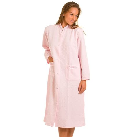 house coats pink quilted button front house coat womens lounger dressing gown