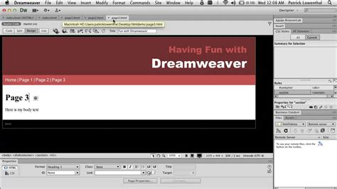dreamweaver tutorial beginner dreamweaver html 5 for beginners creating a simple website