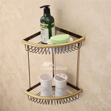 Vintage Bathroom Shelves Vintage Polished Brass Gold Brown Bathroom Shelves