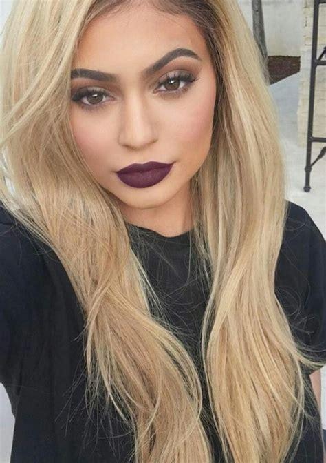 blonde hair purple lipstick stunning makeup image 4303931 by sarahswlon on favim com