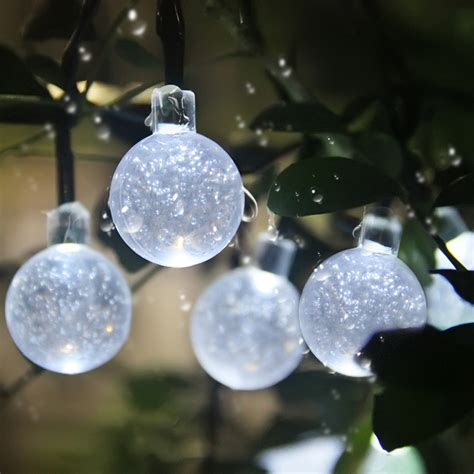 solar globe string lights 30 led outdoor lights white