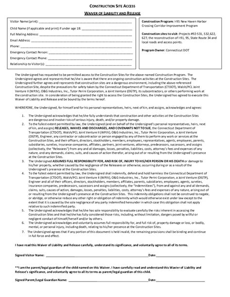 Construction Release Form Resume Template Sle Contractor Liability Waiver Template