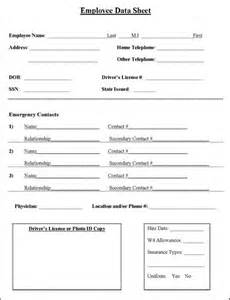 Personal Data Sheet Form Free by Employee Information Sheet Hay Information And Business