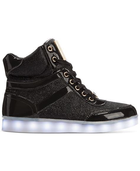 bebe sport shoes bebe sport krysten high top light up sneakers in black lyst