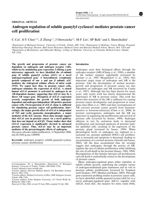 bcas2 promotes prostate cancer cells proliferation by androgen regulation of soluble guanylyl pdf download