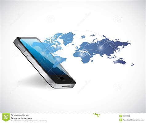 world mobile phone phone world map network illustration design stock photo