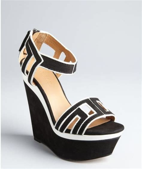 l a m b black and white suede iva colorblock wedge