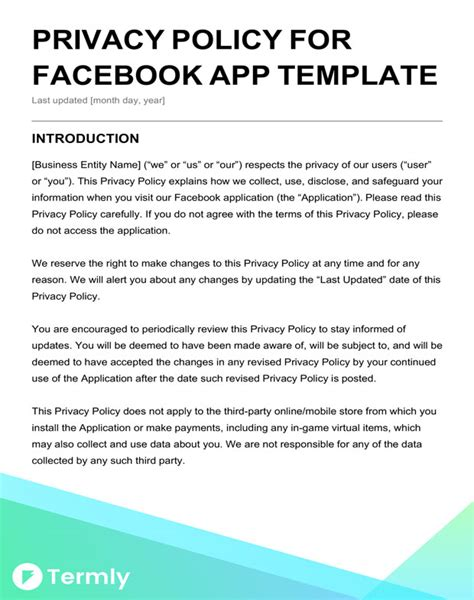Free Privacy Policy Templates Website Mobile Fb App Termly Standard Website Privacy Policy Template