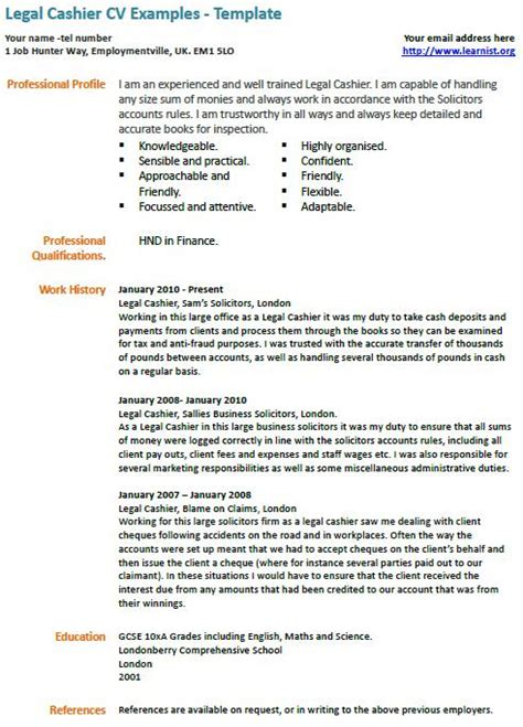 Legal Cashier Cv Exle Learnist Org Ways Of Working Template