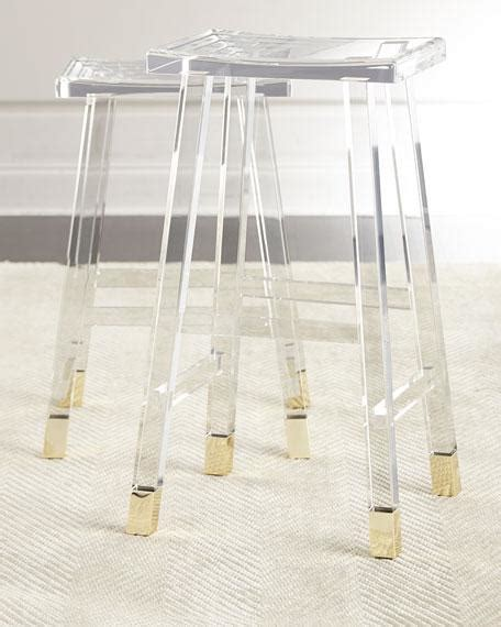 White Acrylic Bar Stools by Clear Acrylic Brass Detail Bar Stool