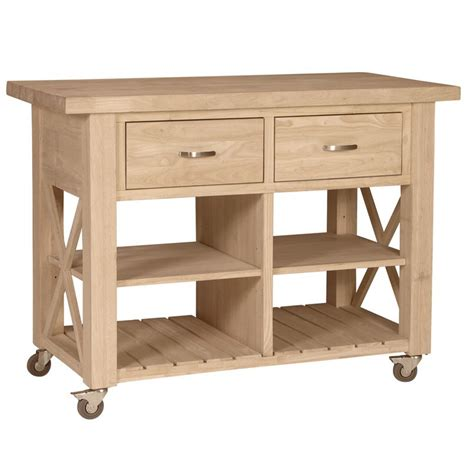Wheeled Kitchen Islands | x side rolling kitchen island with butcher block top