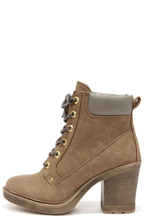 taupe boots high heel boots work boots ankle