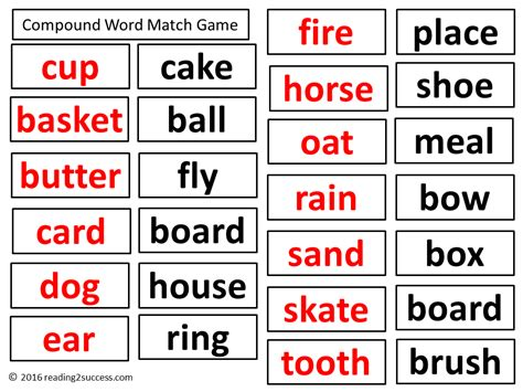 printable compound word matching games reading2success read and predict the meaning of compound