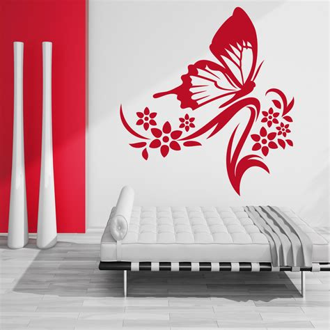 butterfly and flower wall stickers wallstickers folies butterfly flower wall stickers