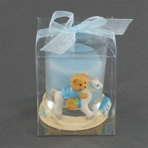 Teddy Baby Shower Favors by Blue Ceramic Teddy Holder On Rocking Baby
