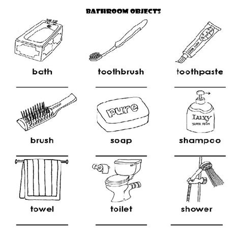 bathroom vocabulary with pictures bathroom vocabulary kids a teacher ackie