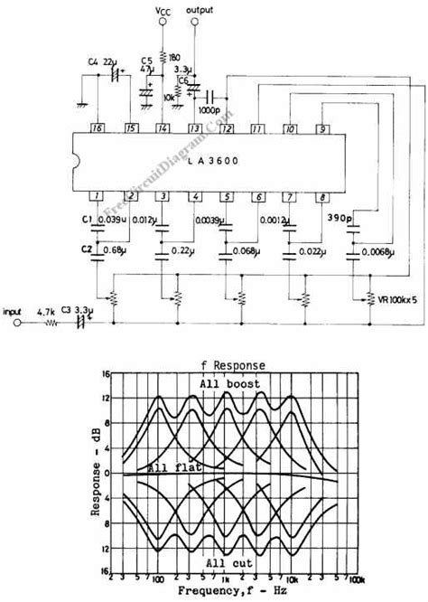 5 band graphic equalizer circuit using la3600 integrated circuit chip circuit wiring diagrams