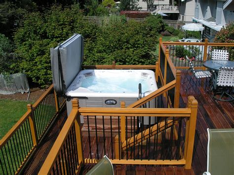 modern backyard deck design ideas modern hot tub with cover for deck design picture gallery