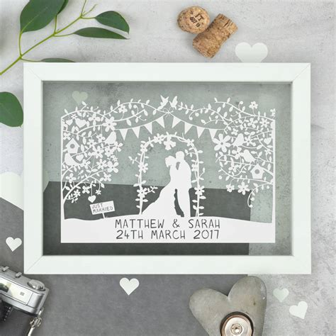Wedding Gift Ideas Personalised by Personalised Silhouette Wedding Papercut By The Portland