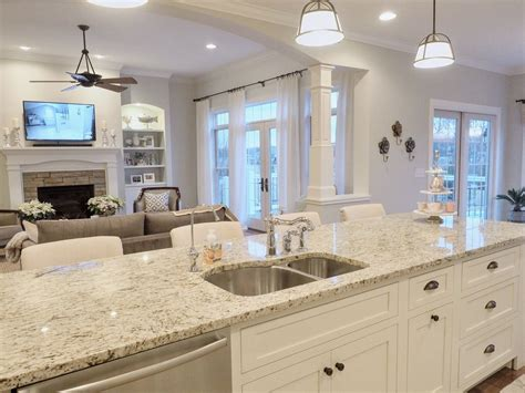 kitchen island open layout open floor plan giallo ornamental granite french doors kitchen
