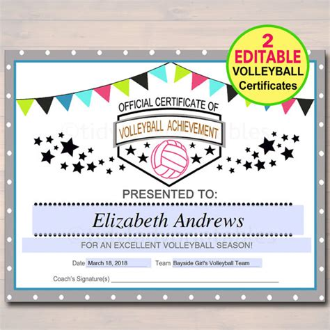 printable certificates for volleyball editable volleyball certificates instant download volleyball