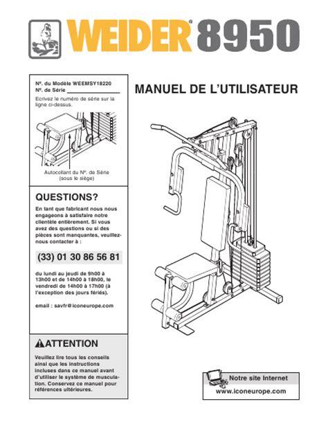 Notice Banc De Musculation by Notice De Montage Banc De Musculation Weider