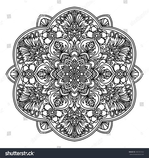 doodle circular pattern design ornamental mandala persian turkish circular pattern stock