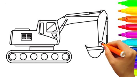 mini excavator coloring pages excavator drawing www pixshark com images galleries