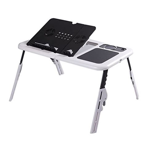 Flexzion Folding Laptop Desk Adjustable Usb Notebook Pc Laptop Cooling Desk
