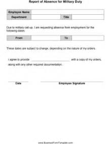 employee absence form template report of absence for duty template