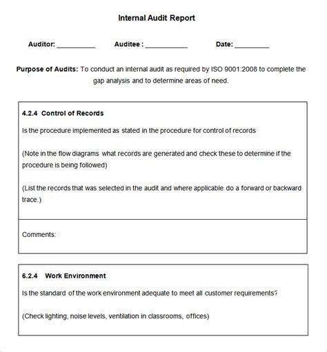 audit template 18 audit report templates free sle exle