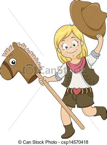 kid cowgirl  toy horse illustration   kid cowgirl