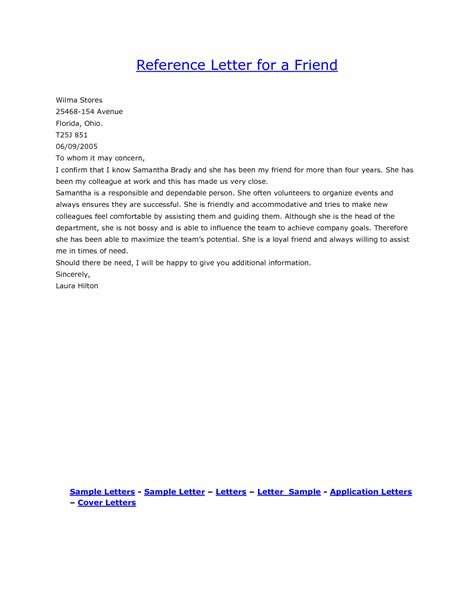 personal letter of reference format complete guide example