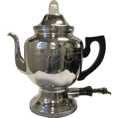 Vintage Farberware Electric Coffee Percolator Pot Art Deco Chrome Etched