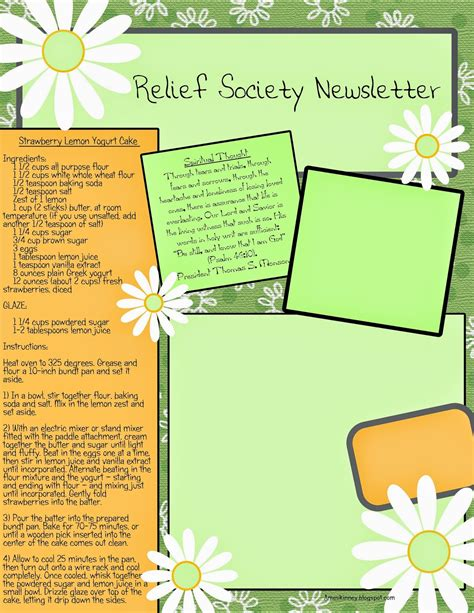 Ameskinney June 2014 Relief Society Newsletter Template Free