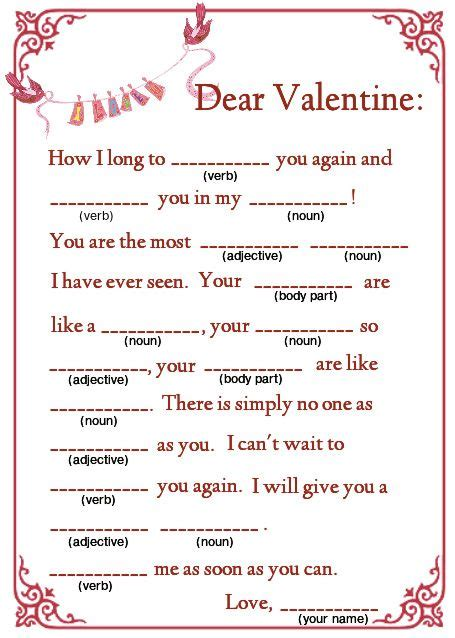 valentines mad libs a great mad lib can be printed or sent