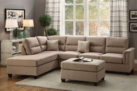 Sectional Sofa With Chaise And Ottoman 3pc Sectional Sofa Set Reversible Chaise Sofa With Ottoman In Sand Ebay
