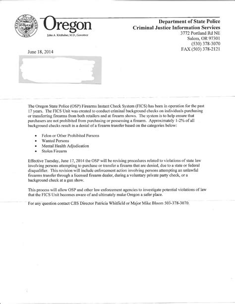 Rejection Letter After Background Check Oregon Sending State Troopers To Investigate Firearms Purchase Denials