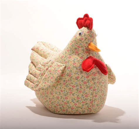 Patchwork Door Stop Pattern - yellow calico sewn chicken doorstop by edwardsfarm on etsy
