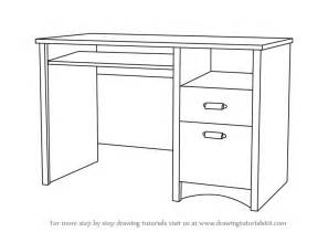 Computer Desk Drawing Learn How To Draw A Computer Desk Furniture Step By Step
