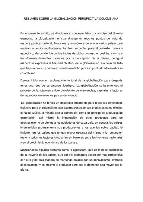 Resume Colombia by Resumen Sobre La Globalizacion Perspectiva 2