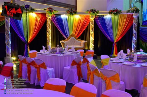 Rainbow Color Concept Wedding Dinner Decoration at SRJK (C